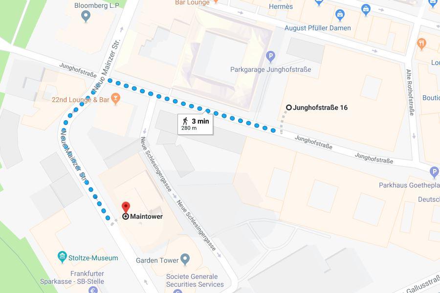 Mapa parkování ve Frankfurtu nad Mohanem a cesta k Main Tower.