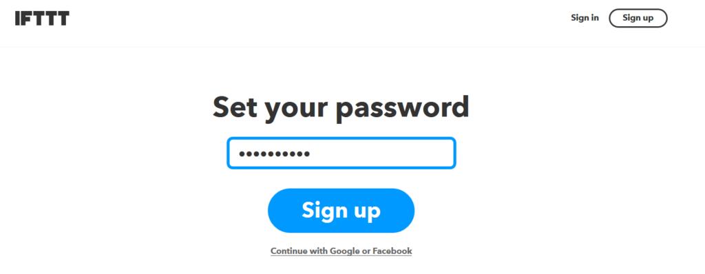 Nastavení hesla na IFTTT